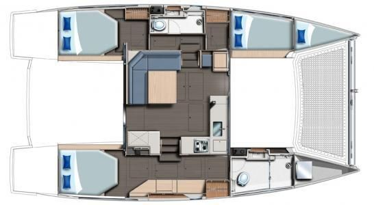 Used Sail Catamaran for Sale 2016 Leopard 40 Layout & Accommodations